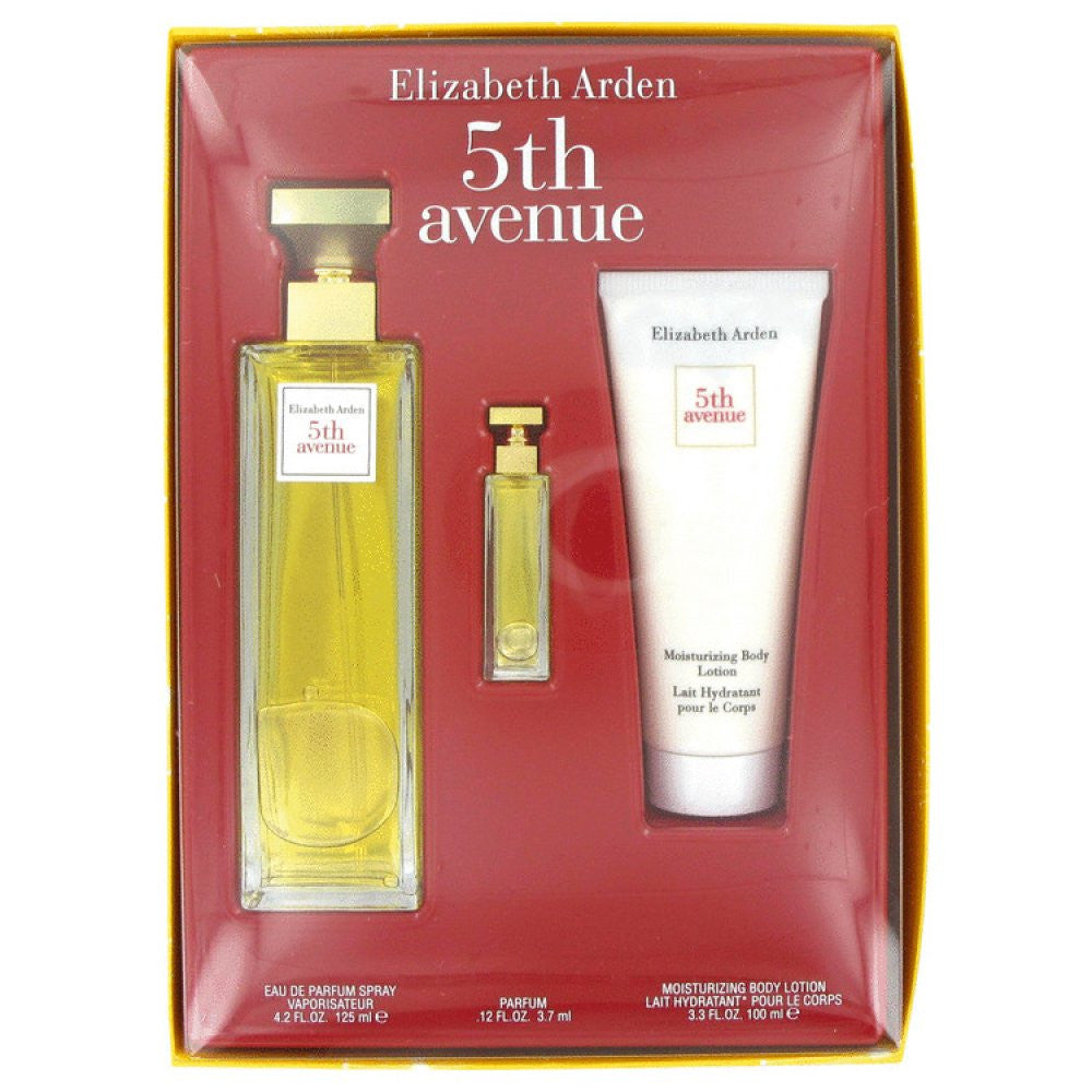 5th Avenue By Elizabeth Arden Gift Set -- 4.2 Oz Eau De Parfum Spray + .12 Oz Mini + 3.3 Oz Body Lotion