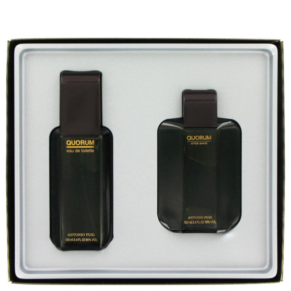 Quorum By Antonio Puig Gift Set -- 3.3 Oz Eau De Toilette Spray + 3.3 Oz After Shave