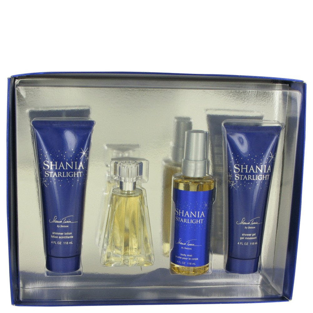 Shania Starlight By Stetson Gift Set -- 1.7 Oz Eau De Toilette Spray + 4 Oz Body Mist + 4 Oz Shimmer Body Lotion + 4 Oz Shower Gel