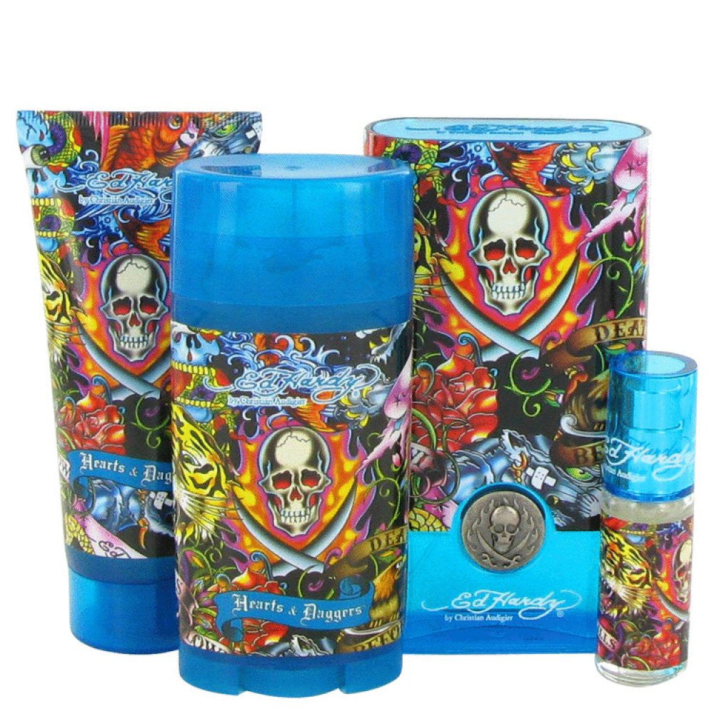 Ed Hardy Hearts & Daggers By Christian Audigier Gift Set -- 3.4 Oz Eau De Toilette Spray + 3 Oz Shower Gel + 2.75 Oz Deodorant Stick + .25 Oz Mini Edt Spray