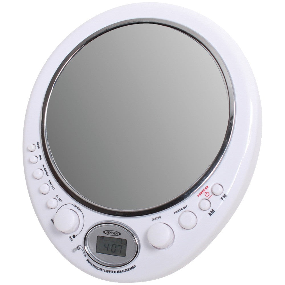 Jensen Am And Fm Alarm Clock Shower Radio With Fog Resistant Mirror
