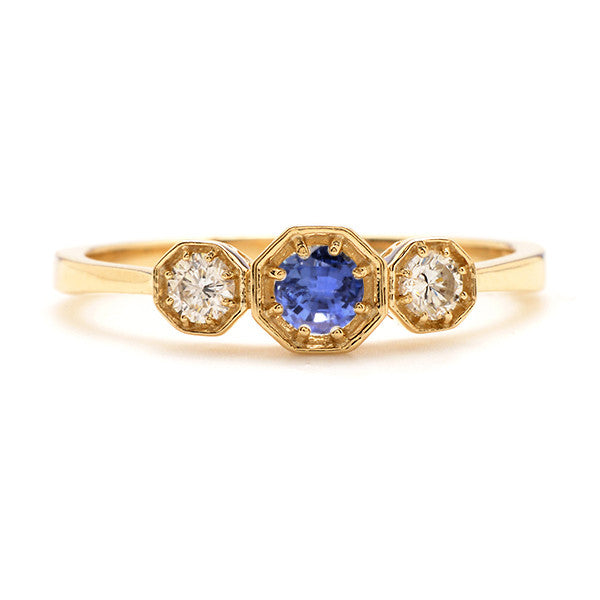 Octagonal Trio Ring with Sapphire and Diamond - Lori McLean