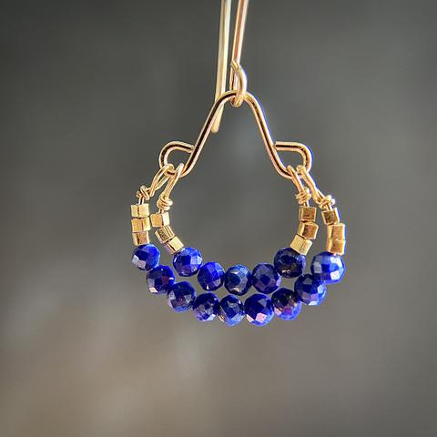 Lapis Double Hoop Drops