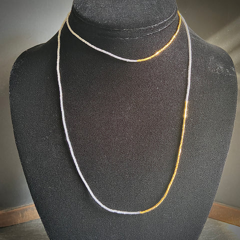 Grey and Gold Double Necklace