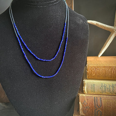 Lapis and Grey Seed Bead Double Necklace