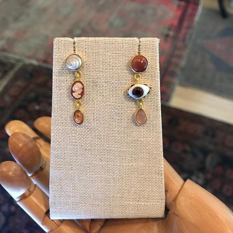 Three Charm Moving Drop Earrings - Lori McLean