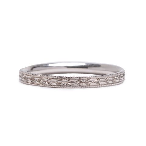 Hand Engraved White Gold Wheat Band - Lori McLean