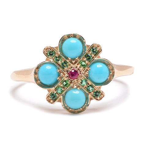 Large Turquoise Four Cross Ring - Lori McLean