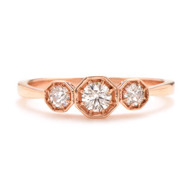 Octagonal Trio Ring with Vintage Diamonds - Lori McLean