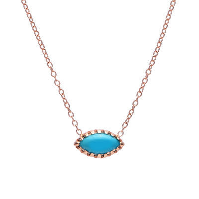 Horizontal Turquoise Marquise Necklace - Lori McLean