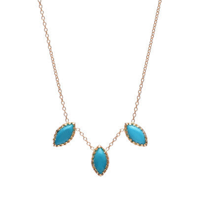Turquoise Marquise Trio Necklace - Lori McLean