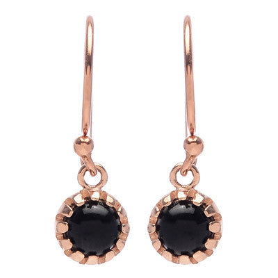 Round Onyx Drop Earrings - Lori McLean