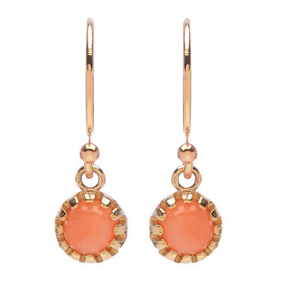 Round Coral Drop Earrings - Lori McLean