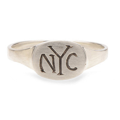 Hand Engraved Sterling Oval Signet Ring - Lori McLean
