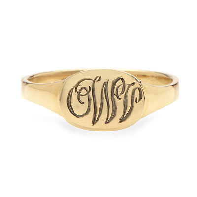 Hand Engraved Oval Signet Ring - Lori McLean