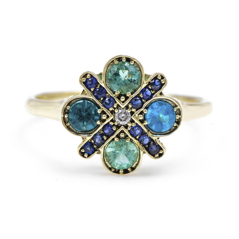 Large Paraiba Four Cross Ring - Lori McLean