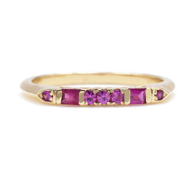 Baguette Mix Ruby Deco Band - Lori McLean