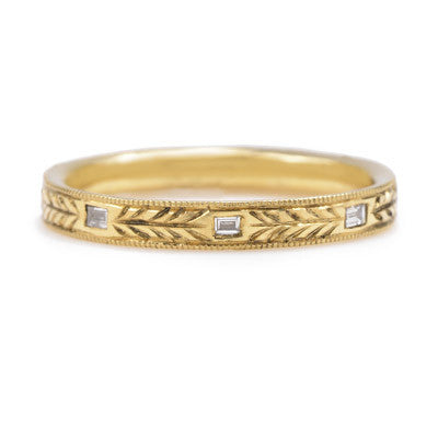 Hand Engraved Baguette Diamond Band - Lori McLean