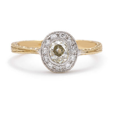 Deco Oval Old Mine Diamond Setting - Lori McLean