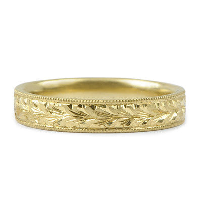 Hand Engraved 4mm Wheat Band - Lori McLean