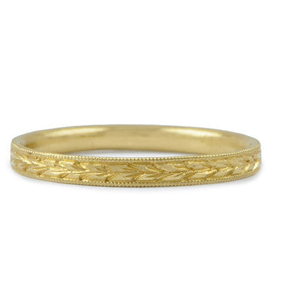 Hand Engraved Wheat Band - Lori McLean