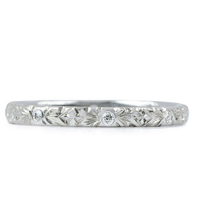 Hand Engraved Diamond Band - Lori McLean