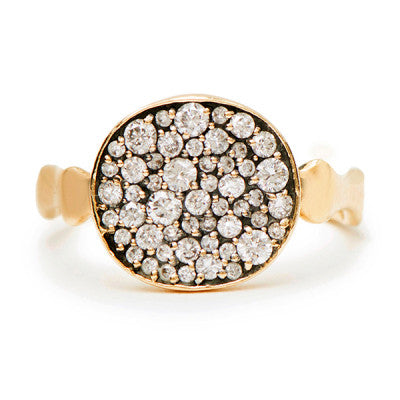Small Side Saddle Diamond Pavé Ring - Lori McLean