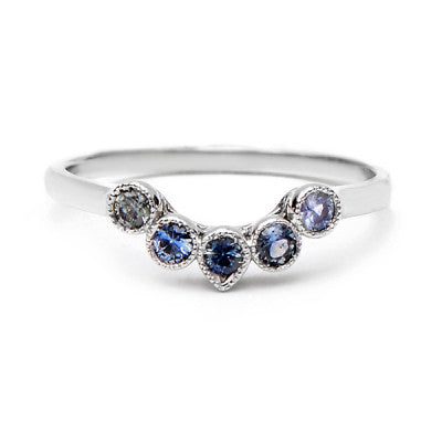 Curved Five Blue Sapphire Mix Ring - Lori McLean