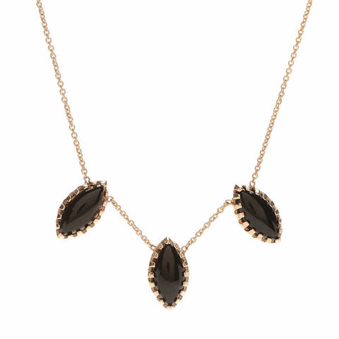 Onyx Marquise Trio Necklace - Lori McLean