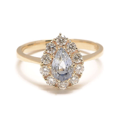 Sapphire Pear and Diamond Cluster Ring - Lori McLean