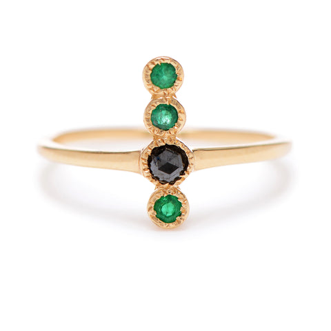 4-Up Emerald & Diamond Ring