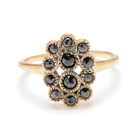 Many Black Rose Cut Diamond Ring