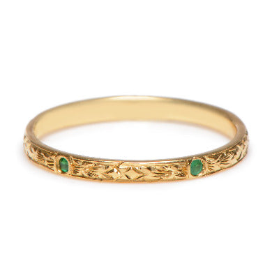 Engraved Emerald Band - Lori McLean