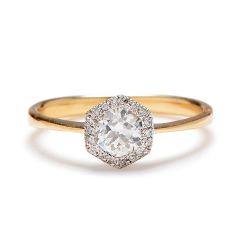 Deco Hexagon Transitional Diamond Ring