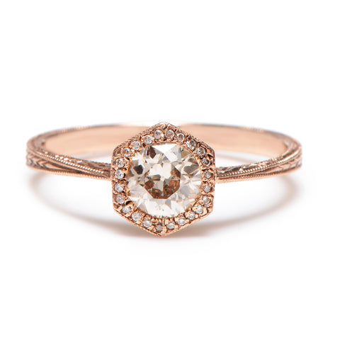 Deco Hexagon Tawny Brown Diamond Ring - Lori McLean