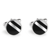 Round Black & White Stripe Inlay Cufflinks - Lori McLean