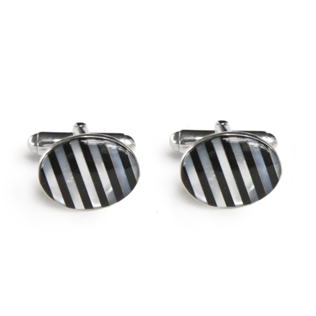 Black & White Stripe Inlay Cufflinks - Lori McLean