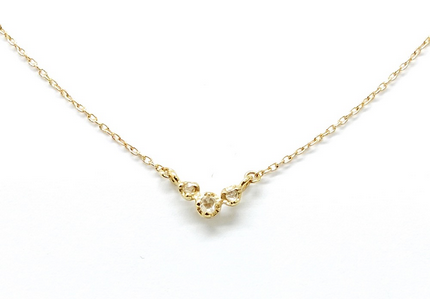 Rose Cut Trio Diamond Necklace