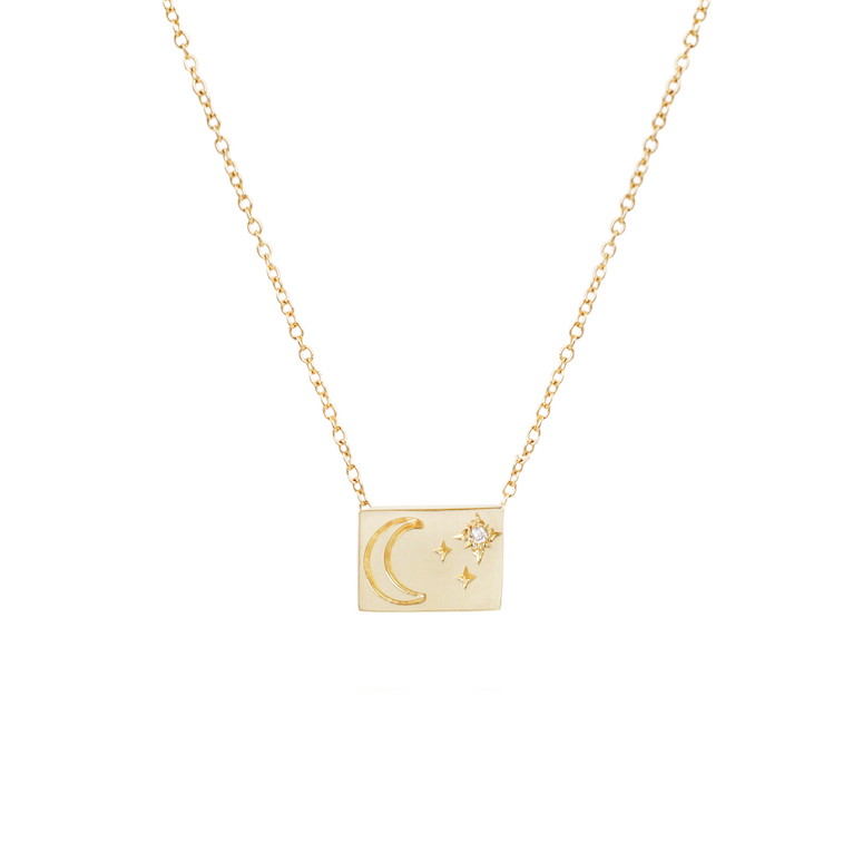 Moon &  Stars Postcard Necklace - Lori McLean