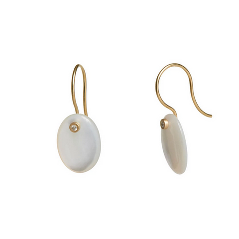 Mother of Pearl & Diamond Disc Earrings - Lori McLean