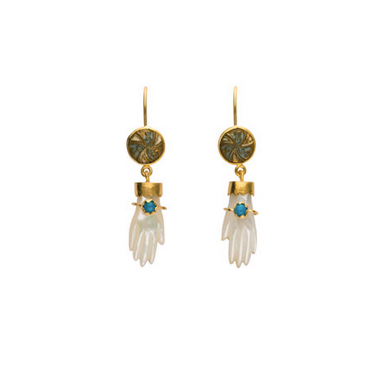 Hand Hook Earrings w Green Onyx Bracelets - Lori McLean