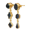 Three Black Charm Drop Earrings - Lori McLean
