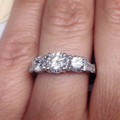 Custom Platinum Ring with Family Diamonds - Lori McLean