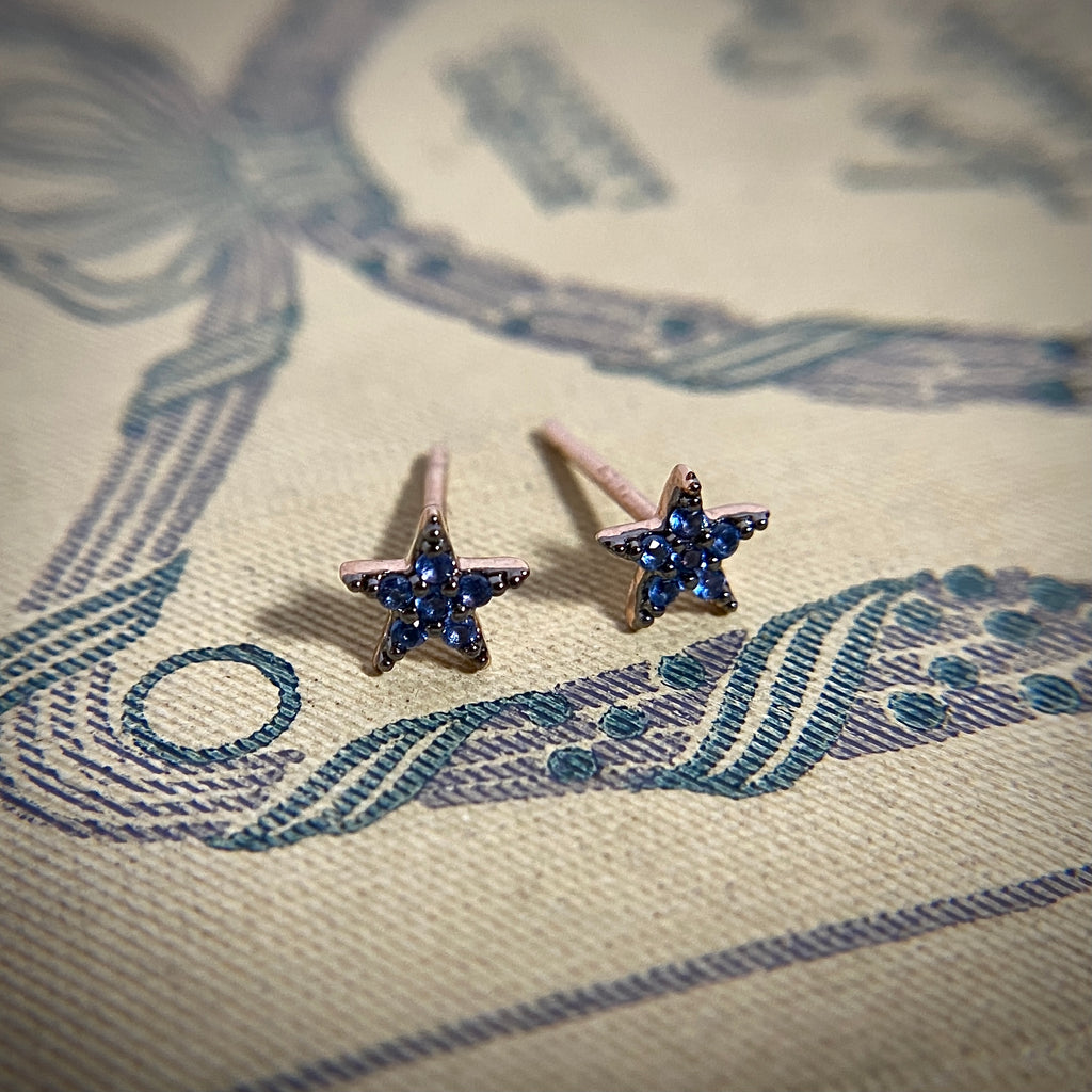 Rose Gold & Blue Star Studs