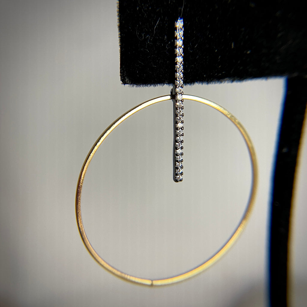 Hoop and Pave Earrings
