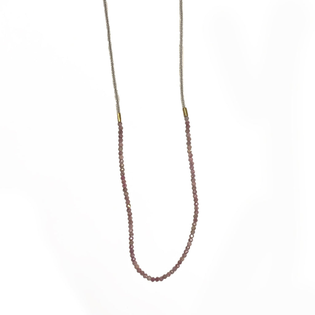 Peach Moonstone and Clear Seed Bead Necklace - Lori McLean