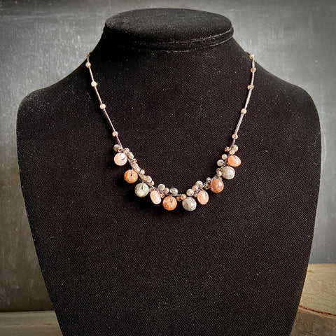 Corundum, Moonstone and Selvente Woven Necklace - Lori McLean