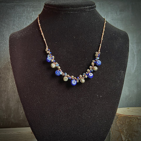 Pyrite, Lapis and Kyanite Woven Necklace - Lori McLean