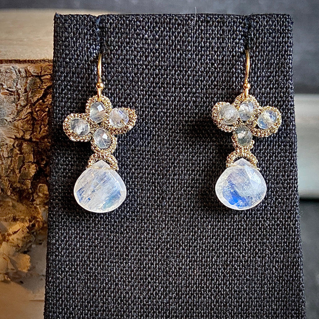 Moonstone and Labradorite Woven Earrings