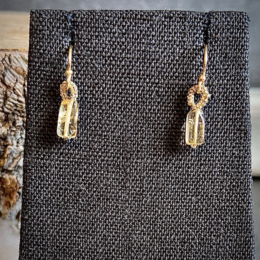 Citrine Rectangle Drop Earrings